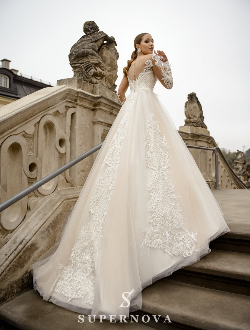 Ivory wedding dress with a skin-toned lining, long sleeves on wholesale from SuperNova-4