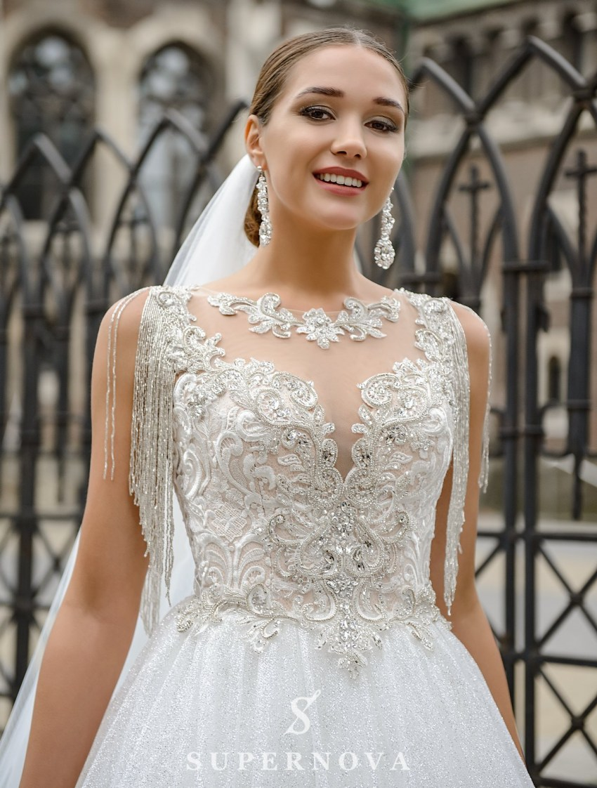 Wedding dress with a corset, embroidered with chain on wholesale from SuperNova-2
