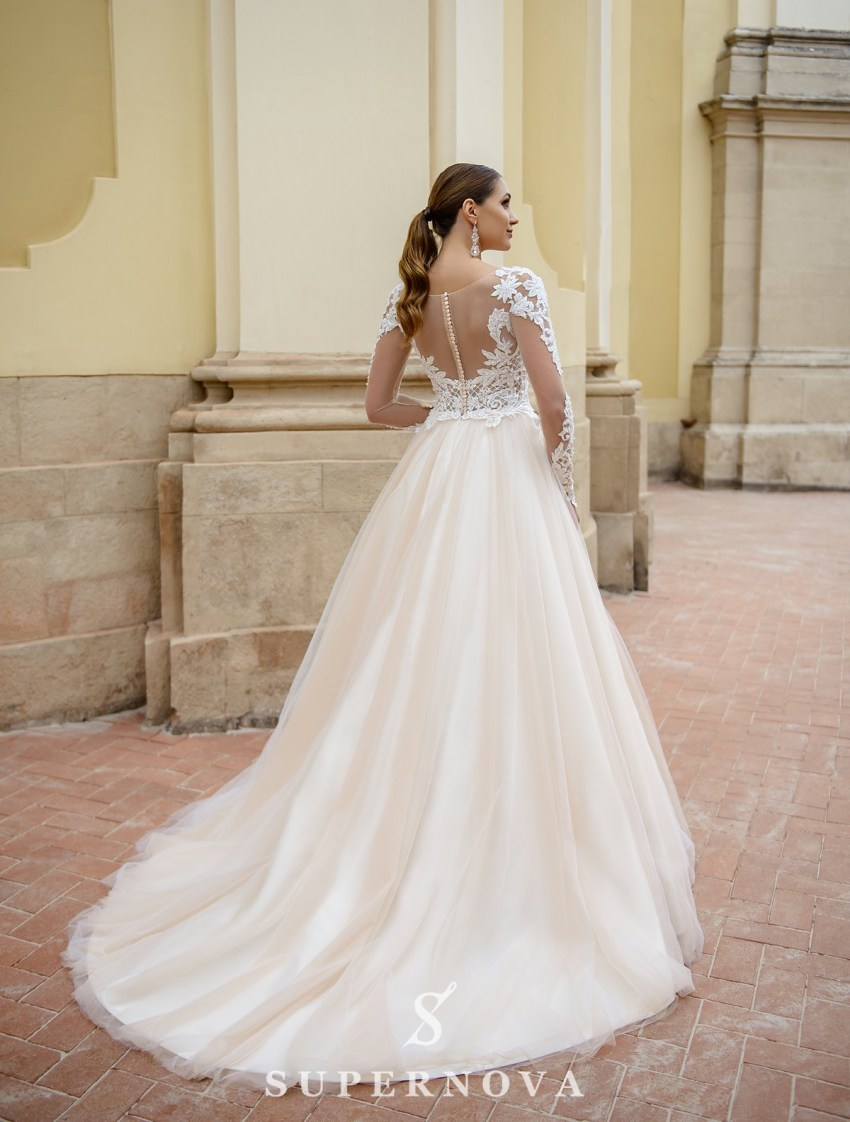 Ivory wedding dress with lace bodice and sleeves on wholesale from SuperNova-3