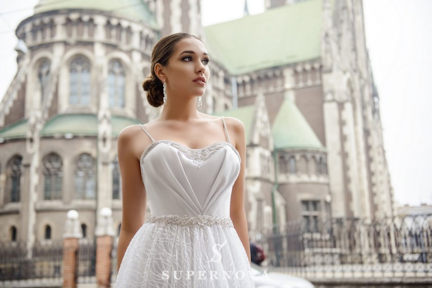Wedding dress with drapery on the corset on wholesale from SuperNova SN-081-Nadine