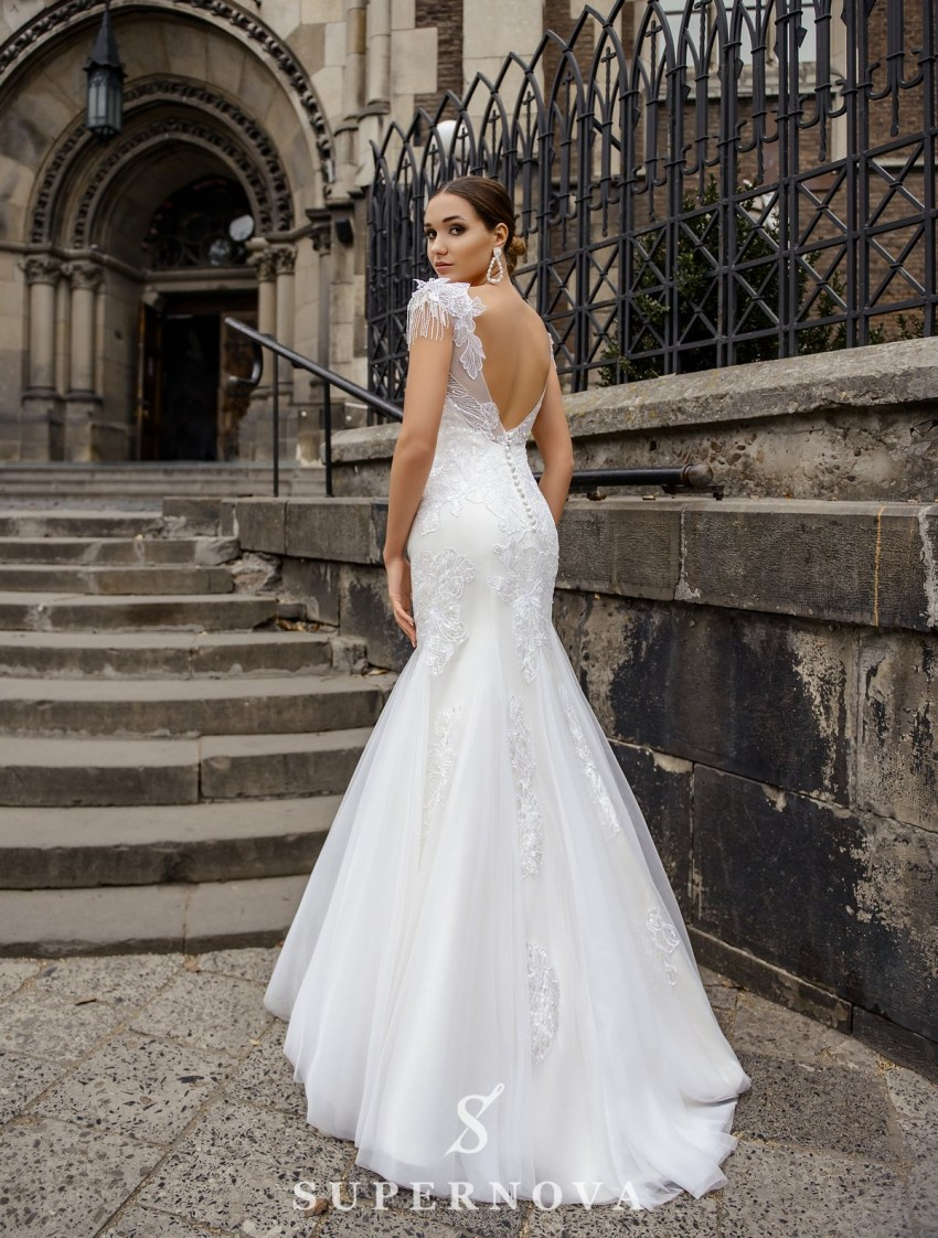 Wedding dress in godet style on a yoke on wholesale from SuperNova-4