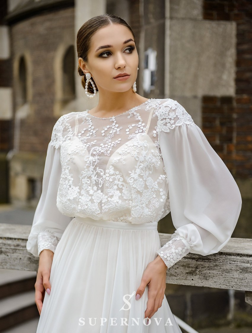 Wedding set consisting of satin dress and cape wholesale from SuperNova-3