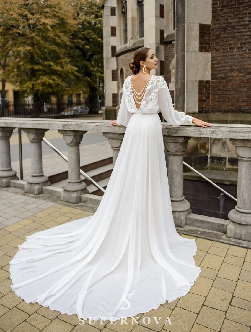 Свадебный комплект из атласного платья и накидки оптом от SuperNova-5