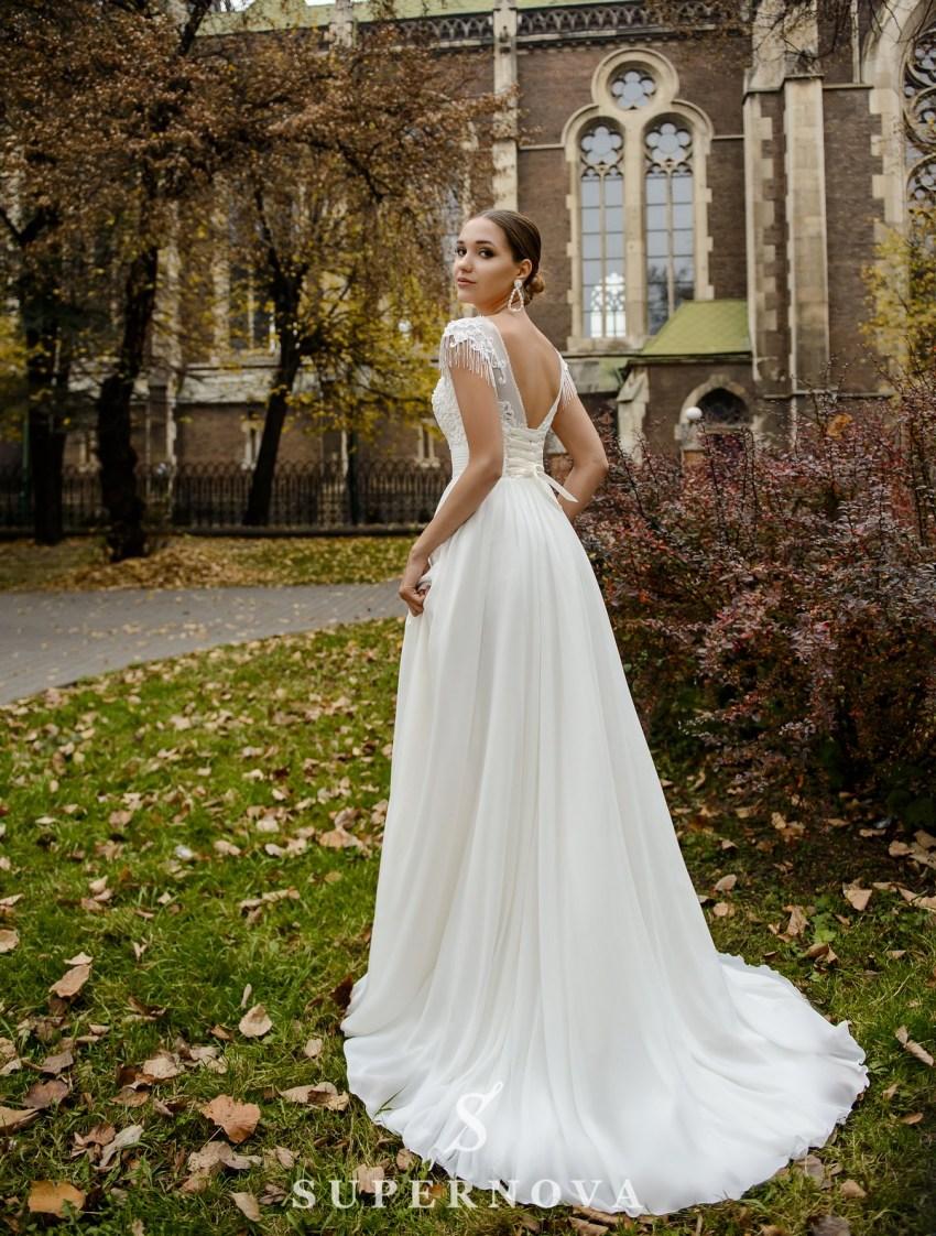 Свадебное платье с подчеркнутой талией и мягкой юбкой оптом от SuperNova-3
