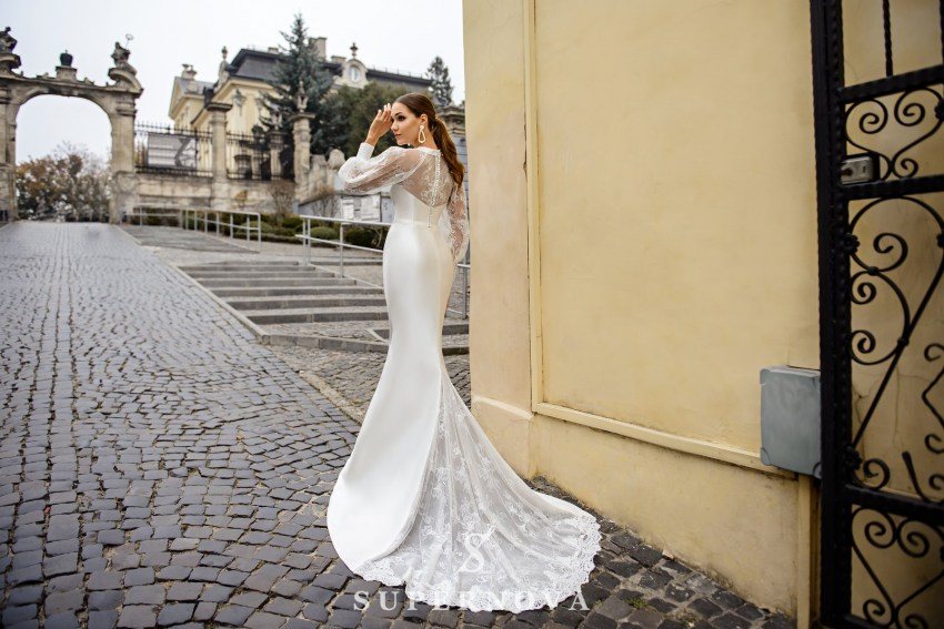 Wedding dress  in godet style with wide sleeves on wholesale from SuperNova-1