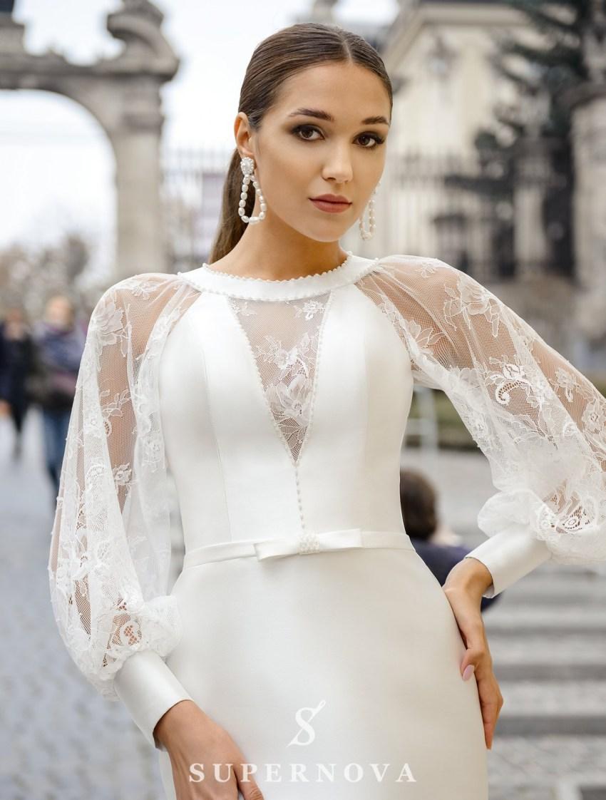 """Свадебное платье """"годе""""с широкими рукавами оптом от SuperNova-2"""