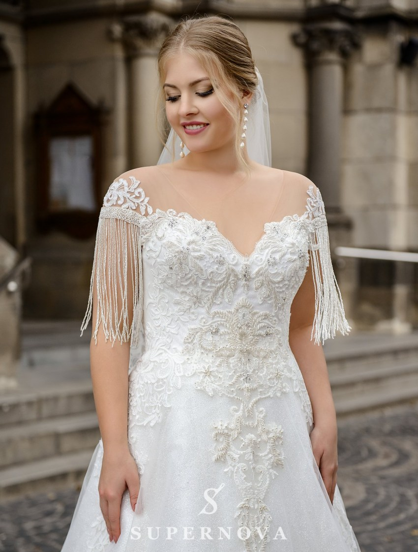 Plus size  wedding dress with fringe on the sleeves on wholesale from SuperNova-3