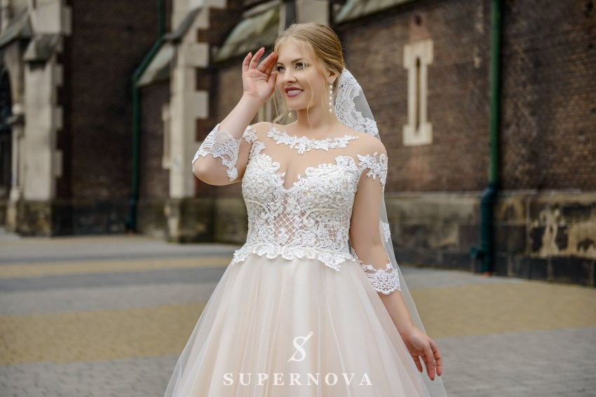 Plus size wedding dress with a translucent corset on wholesale from SuperNova-2