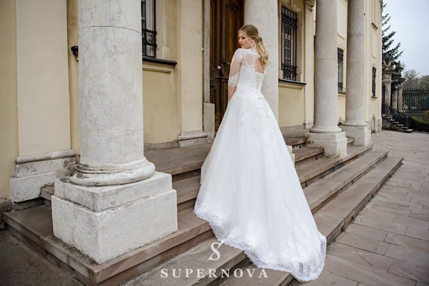Plus size wedding dress with elongated corset  from the manufacturer SuperNova SN-092-Nata
