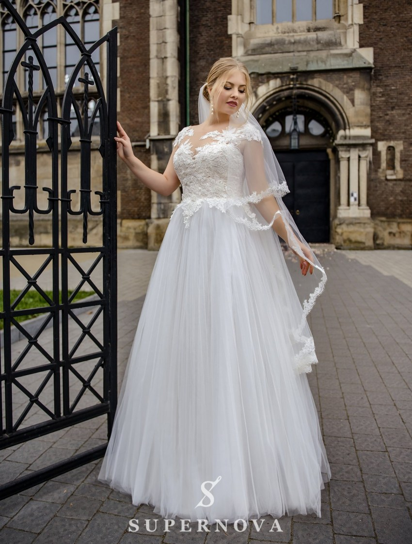 Plus size wedding dress with a puffy skirt on wholesale from SuperNova-2