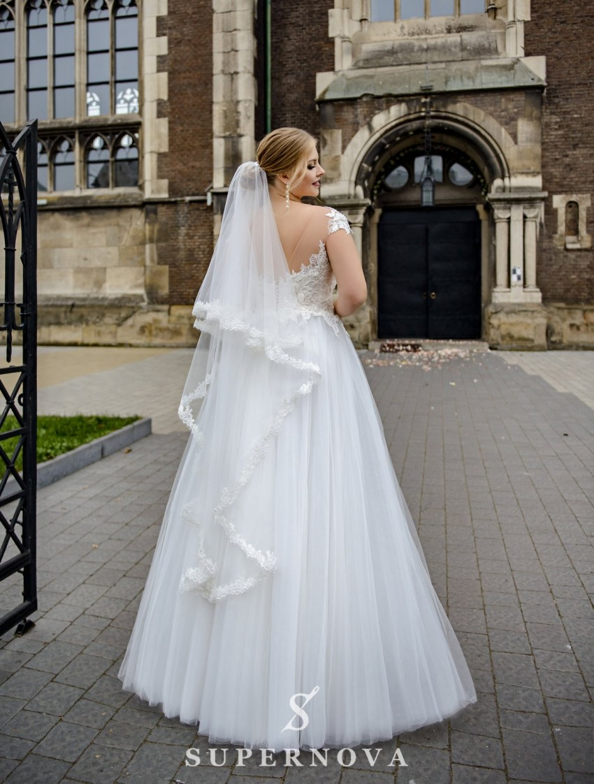 Plus size wedding dress with a puffy skirt on wholesale from SuperNova-3