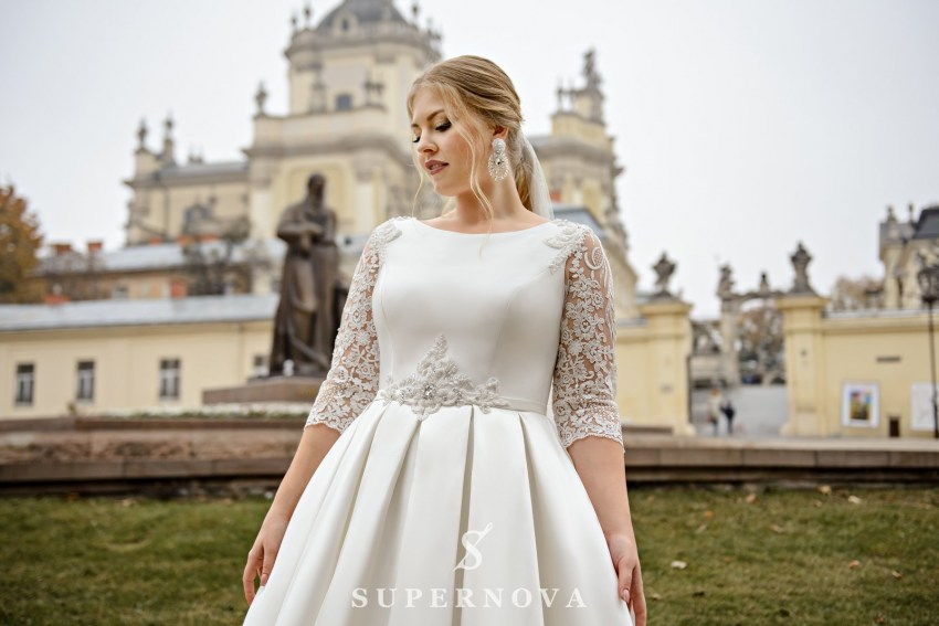 Plus size A-silhouette wedding dress of mikado fabric on wholesale from SuperNova SN-094-Natela