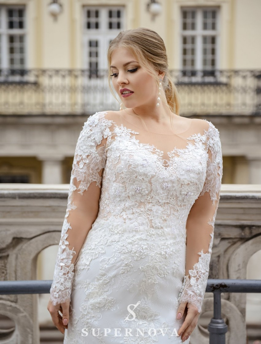 Plus size wedding dress in godet style on wholesale from SuperNova company-2