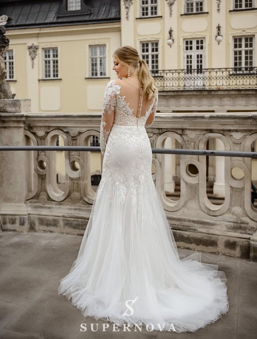 Plus size wedding dress in godet style on wholesale from SuperNova company-3