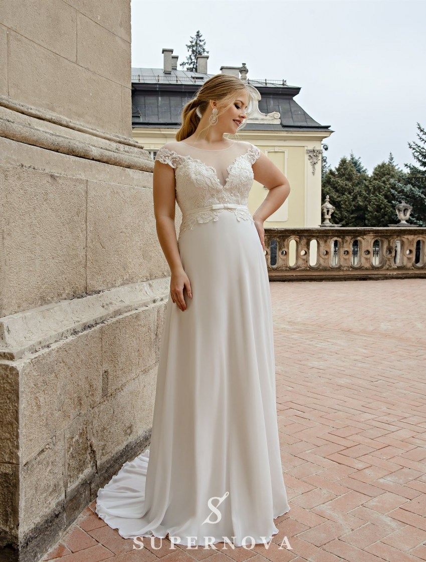 Straight plus size wedding dress wholesale from SuperNova-2