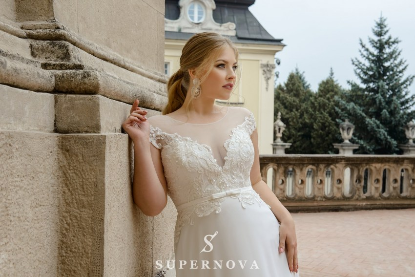 Straight plus size wedding dress wholesale from SuperNova SN-099-Nyssa
