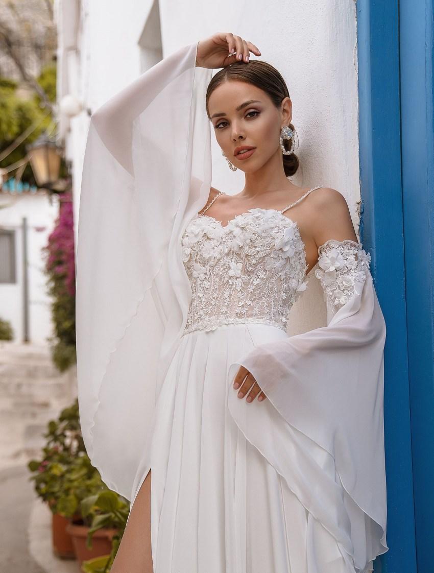 Свадебное платье с поясом от производителя Supernova оптом-6