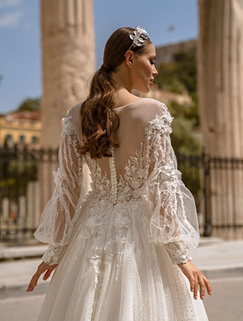Свадебное платье с объемным гипюром от производителя Supernova оптом-8