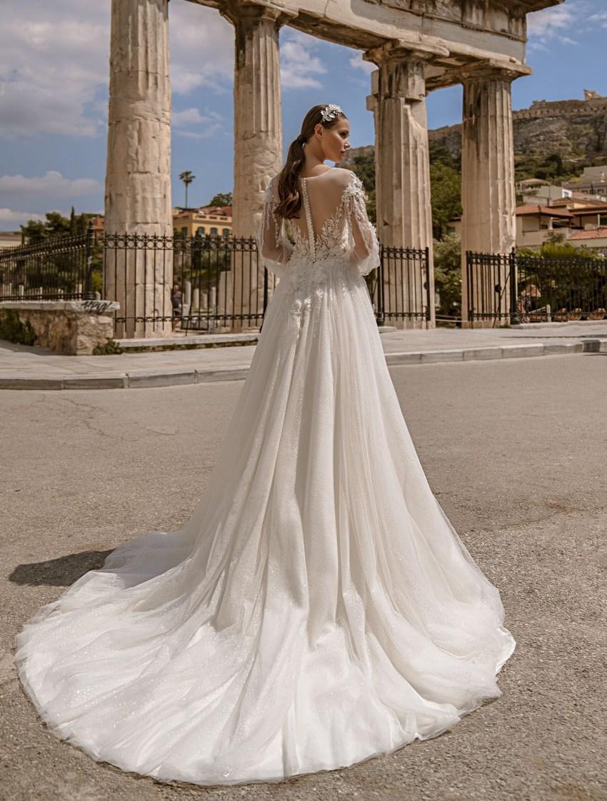 Свадебное платье с объемным гипюром от производителя Supernova оптом-9