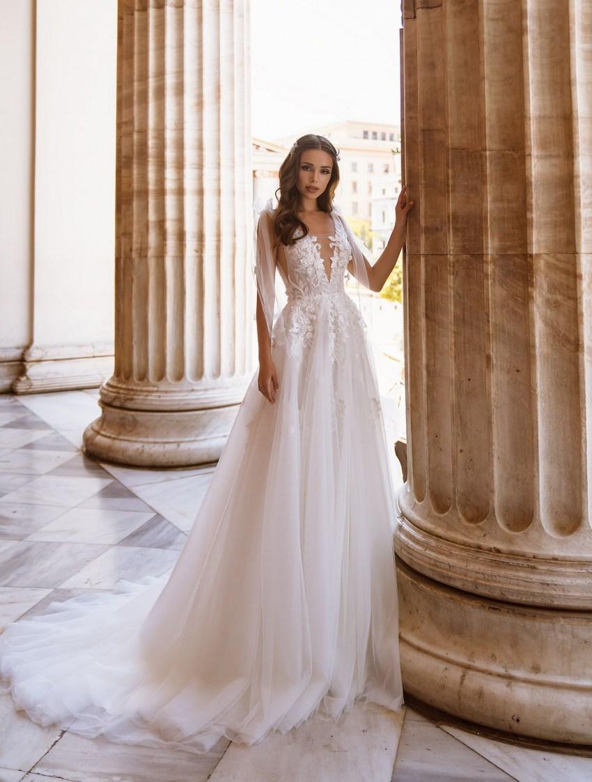 Романтичное свадебное платье с бантами от ТМ Supernova оптом-6