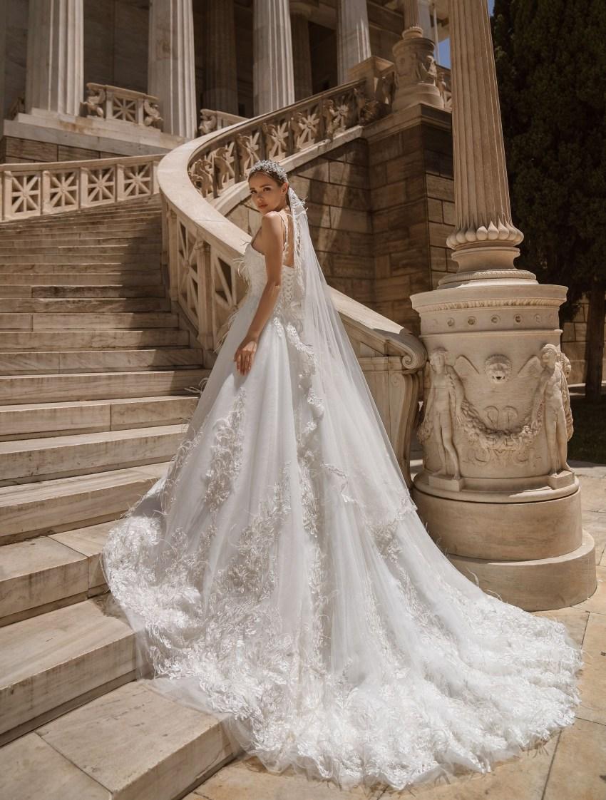Свадебное платье с перьями от производителя Supernova оптом-5