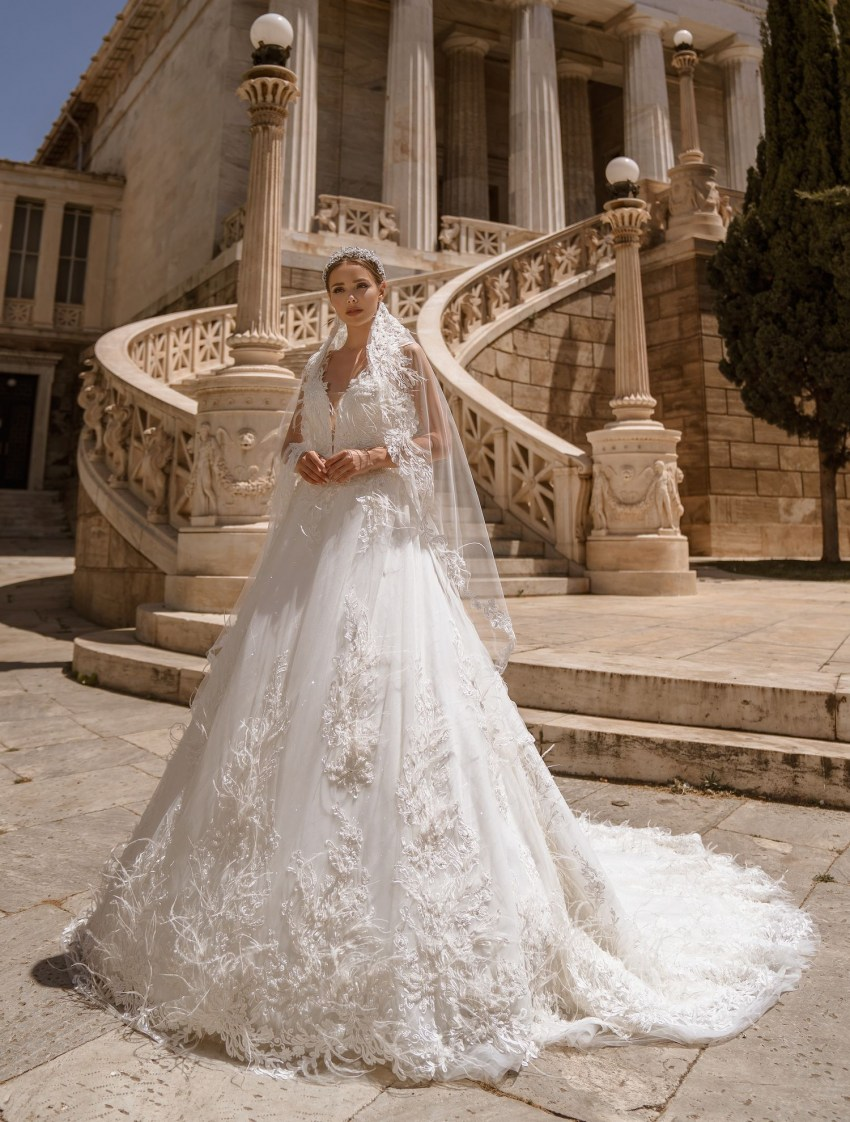 Свадебное платье с перьями от производителя Supernova оптом-7