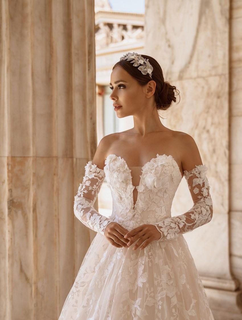 Свадебное платье с открытыми плечами от производителя Supernova оптом-5