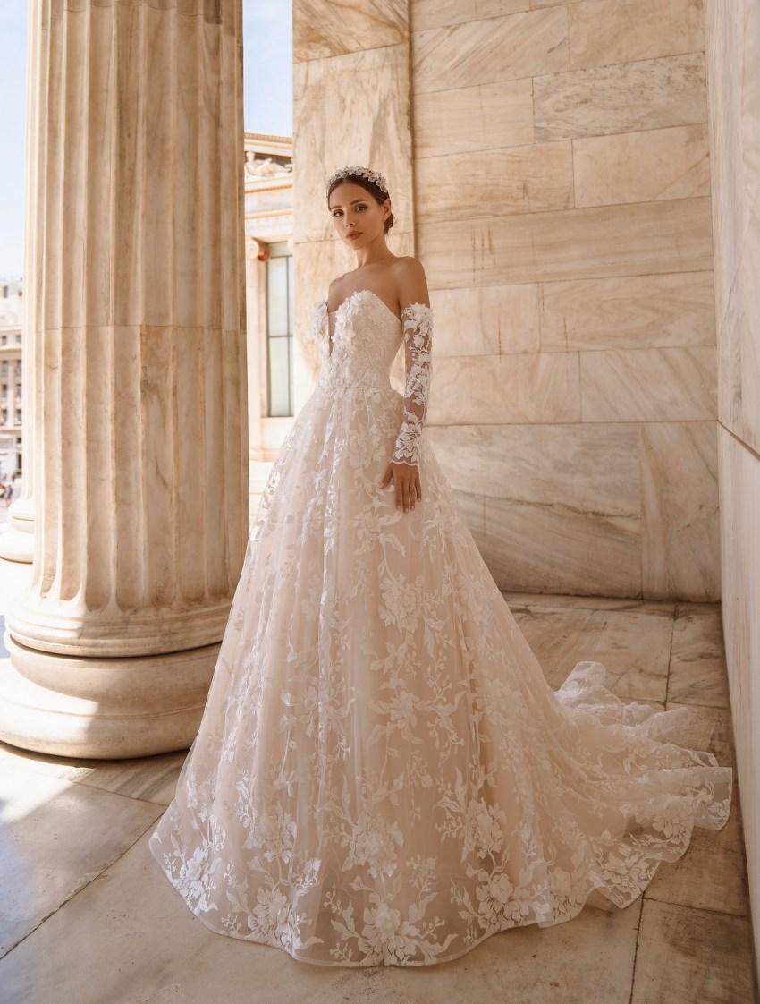 Свадебное платье с открытыми плечами от производителя Supernova оптом-6