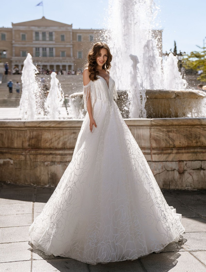 Блестящее свадебное платье на бретелях от ТМ Supernova оптом-5