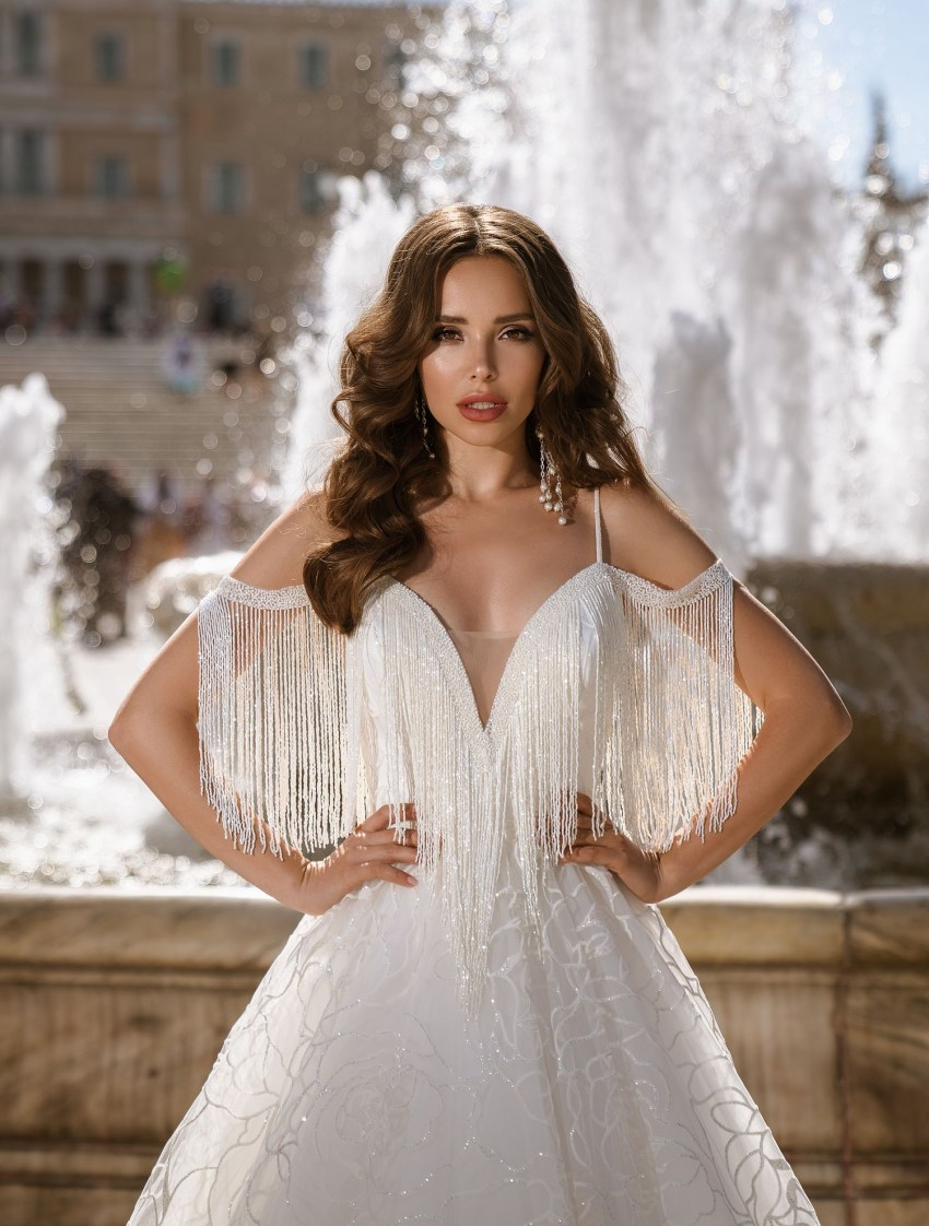 Glittering wedding dress with straps from TM Supernova wholesale-6