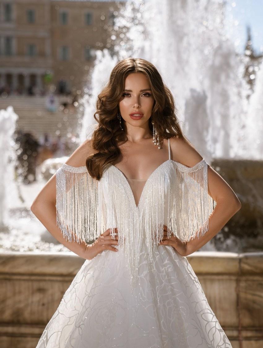 Блестящее свадебное платье на бретелях от ТМ Supernova оптом-6