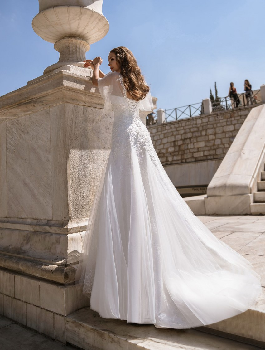 Wedding dress of classic «А» - silhouette with a train from TM Supernova wholesale-9