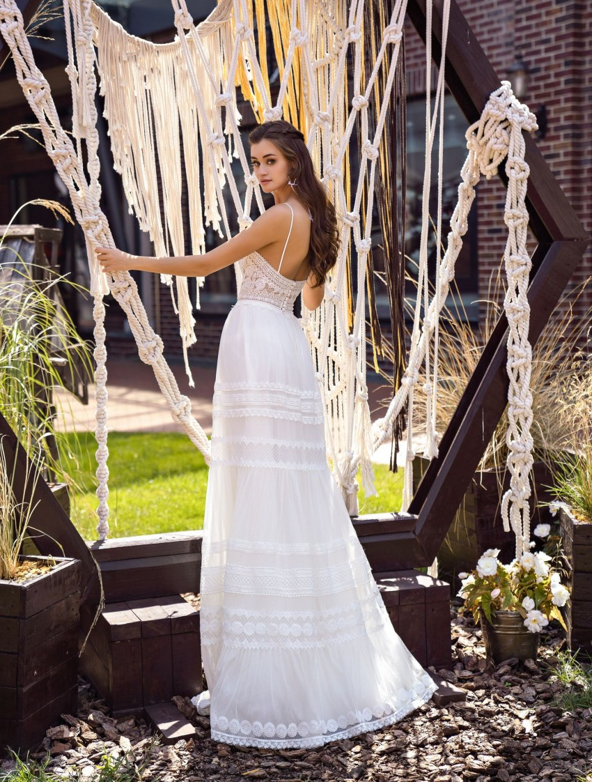 Boho wedding dress on straps wholesale from Supernova-7