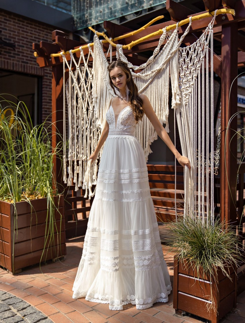 Boho wedding dress on straps wholesale from Supernova-5