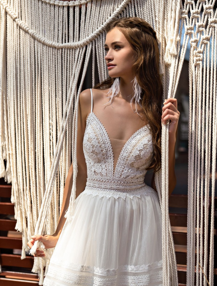 Boho wedding dress on straps wholesale from Supernova-6