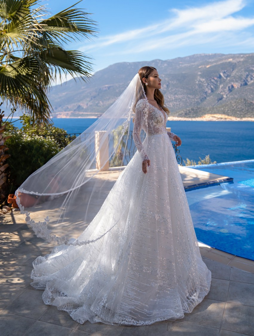 Wholesale wedding dress with long sleeves from Supernova-9