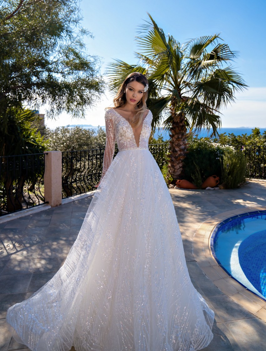 Wholesale wedding dress with long sleeves from Supernova-6
