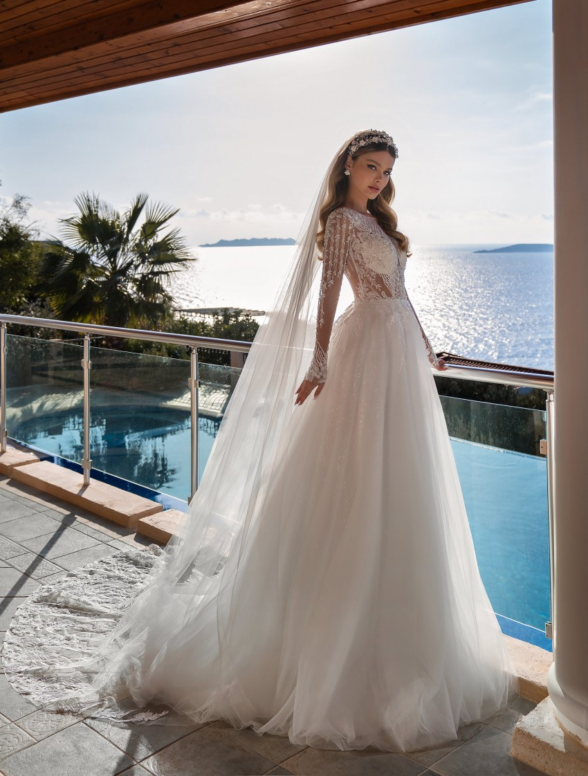 Wholesale wedding dress with long sleeves from Supernova-4