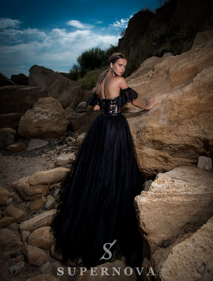 Evening dress with fluffy skirt-4