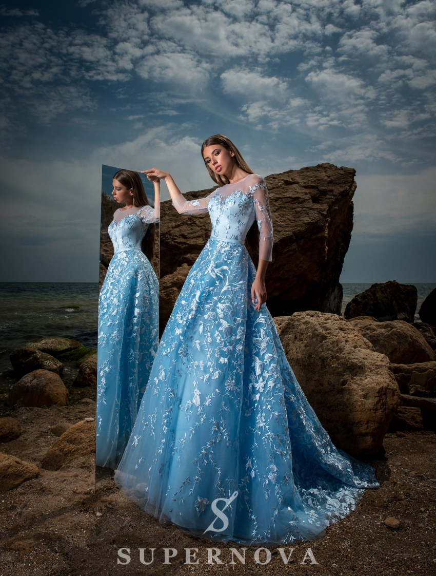 Вечернее гипюровое платье А-силуэта-3