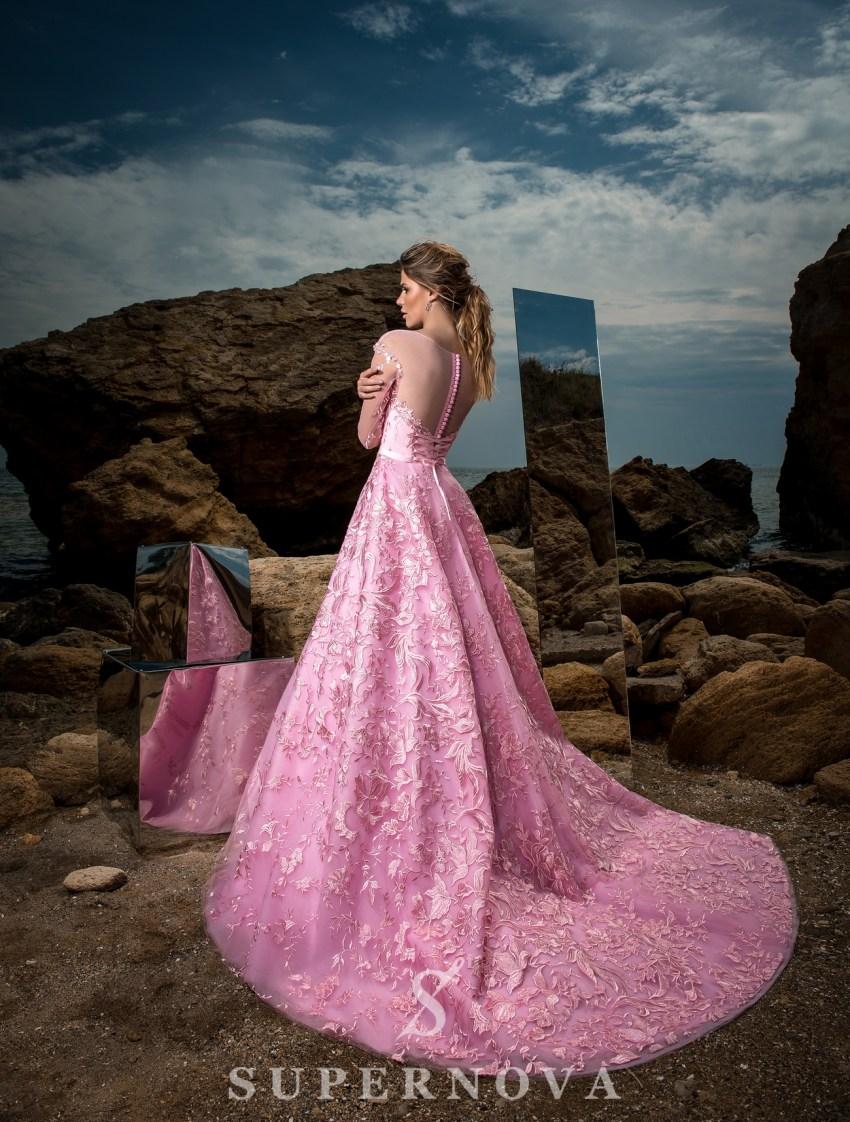 Вечернее гипюровое платье А-силуэта-4