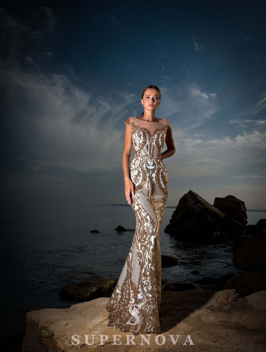 Evening dress with train-4