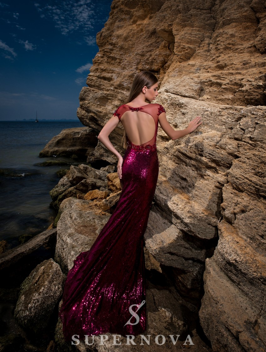Evening dress of sequin material-5