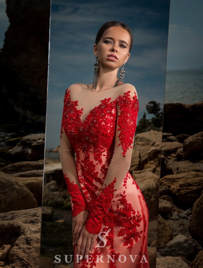 Вечернее платье с длинными рукавами-3