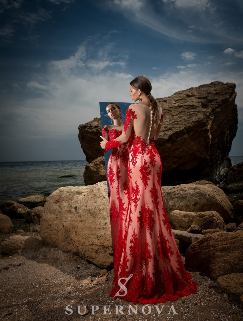 Вечернее платье с длинными рукавами-5