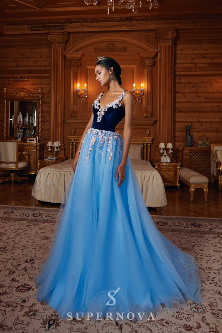 Evening dress with velour corset and tulle skirt on wholesale  from Super Nova-2