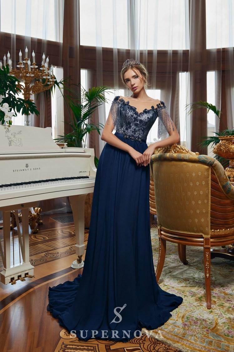 Rochie de seară cu fustă trenă moale și corsetul brodată cu mărgel angro de la Super Nova-3