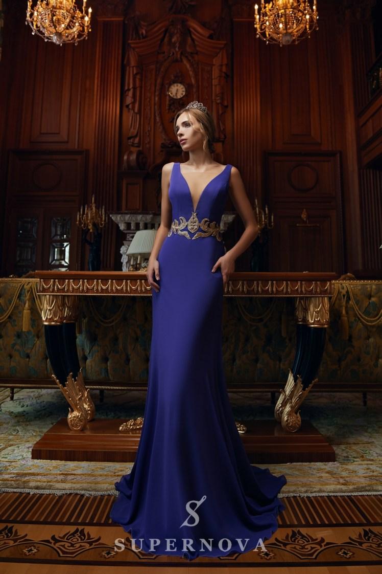 """Вечірня сукня силуету """"годе"""" і вишивкою паєтками на талії оптом від Super Nova.-2"""