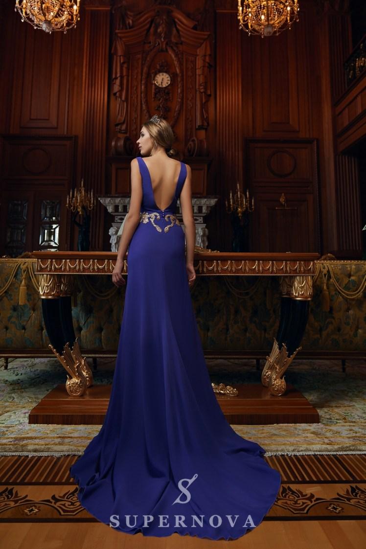 """Вечірня сукня силуету """"годе"""" і вишивкою паєтками на талії оптом від Super Nova.-4"""