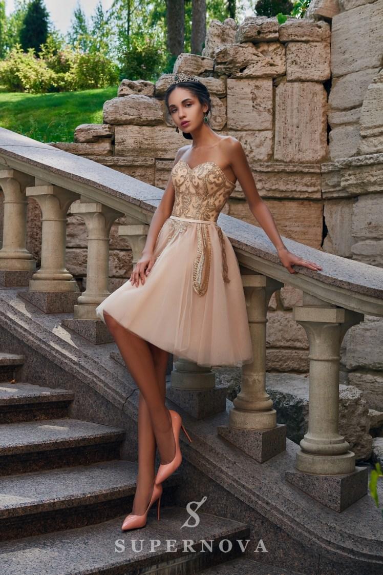 Пышное короткое вечернее платье оптом от SuperNova.-2